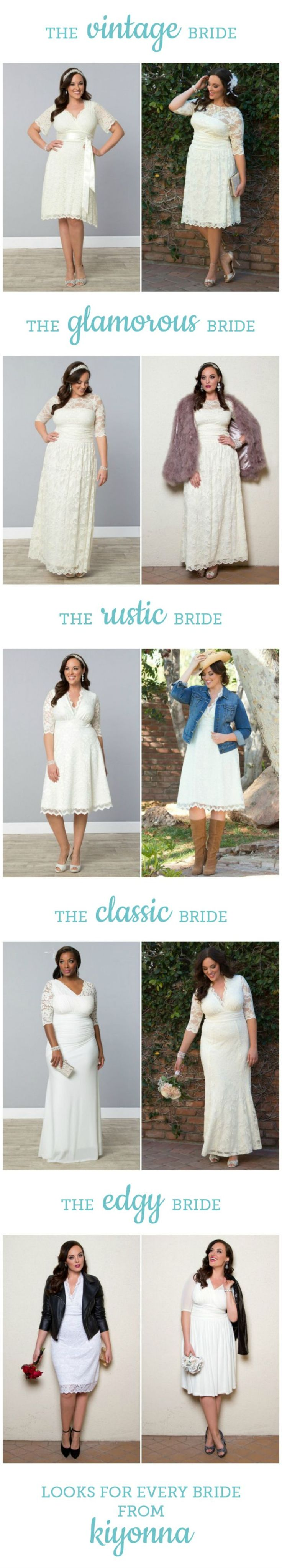 Affordable Wedding Dresses for Curvy girls in styles for every type of bride -- all from @kiyonna!