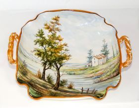 Centerpiece with landscape and handles of Ceramiche Liberati Centerpieces of majolica, entirely turned and painted by hand. Made in one original.