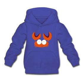Kinder capuchontrui met krab van Mamashirts.  Kids hoody with crab from Mamashirts.