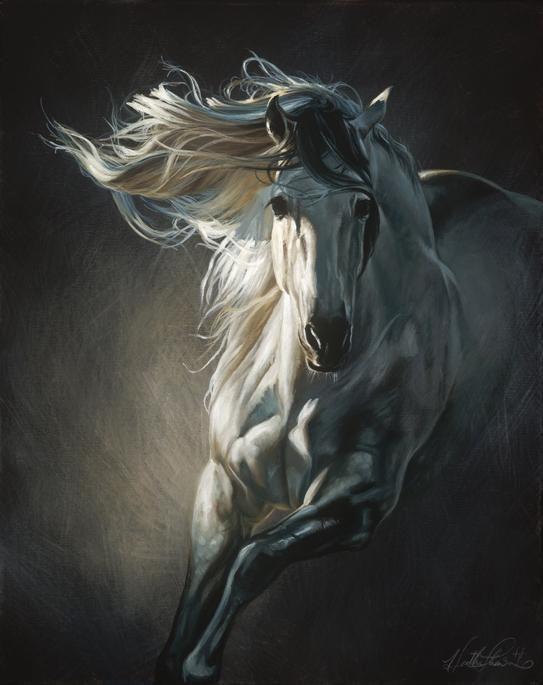 Running white horses painting
