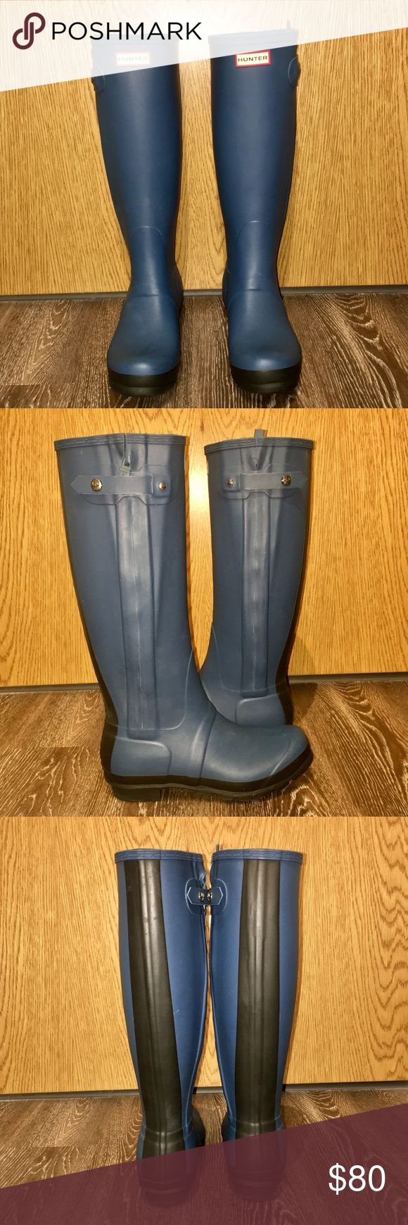"""Women's Original Slim Textured Rain Boots These boots are approximately one year old. They haven't been worn much, almost perfect condition! According to the Hunter Boot website, the color is """"Azure"""". Super comfy and cute with almost any outfit! Hunter Boots Shoes Winter & Rain Boots"""