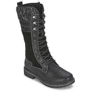 Het merk Wildflower stelt deze trendy laarzen voor die je de hele winter lang kan dragen. Dit model is voorzien van een zwarte leren schacht waardoor het een heel eigentijdse look krijgt. Dit model is voorzien van een synthetische binnenvoering en een buitenzool van rubber.   Een modieus model! - Kleur : Zwart - Schoenen Dames € 79,19