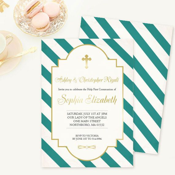 46 best catholic and christian invitations images on pinterest first communion baptism invitation teal stripes by vginvites stopboris Gallery