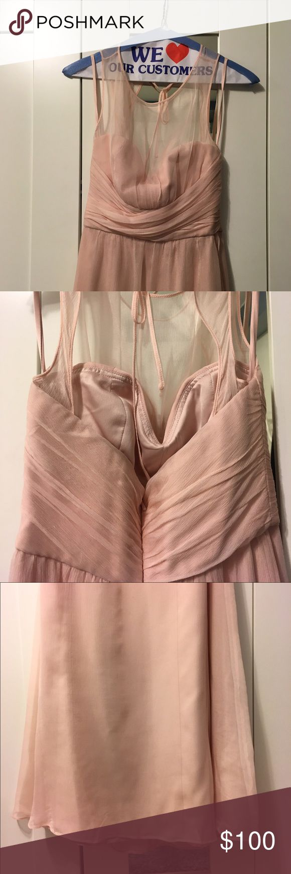 AMSALE Illusion Yoke Silk Chiffon Blush Size 0 AMSALE Bridesmaid Dress has been used once. It hasn't been altered. However, there's a stain and runs that aren't that visible unless you really look close at the dress. AMSALE Dresses Wedding