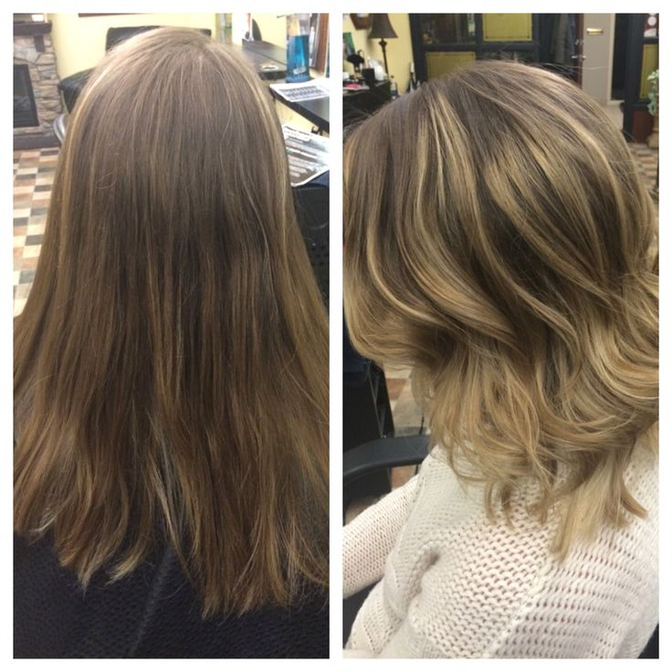 Balyage Blonde Before And After Shoulder Length Cut
