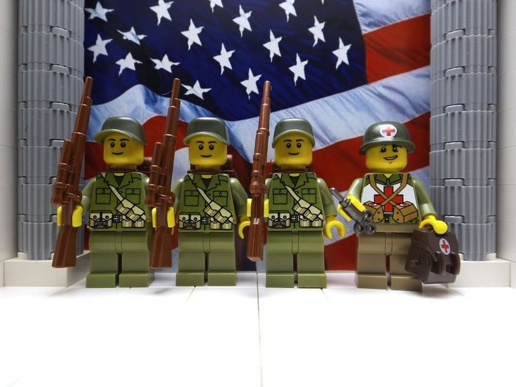 4x wwii lego americans 1x medic 311th para inf regt 1945 with springfields
