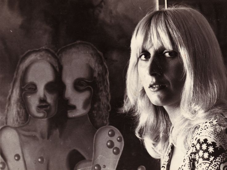 Sylvia Convey with one of her paintings 1973.