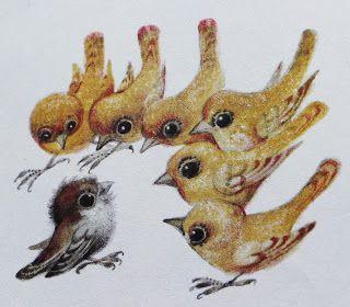 Karel Franta birds. Vintage Czech illustration.