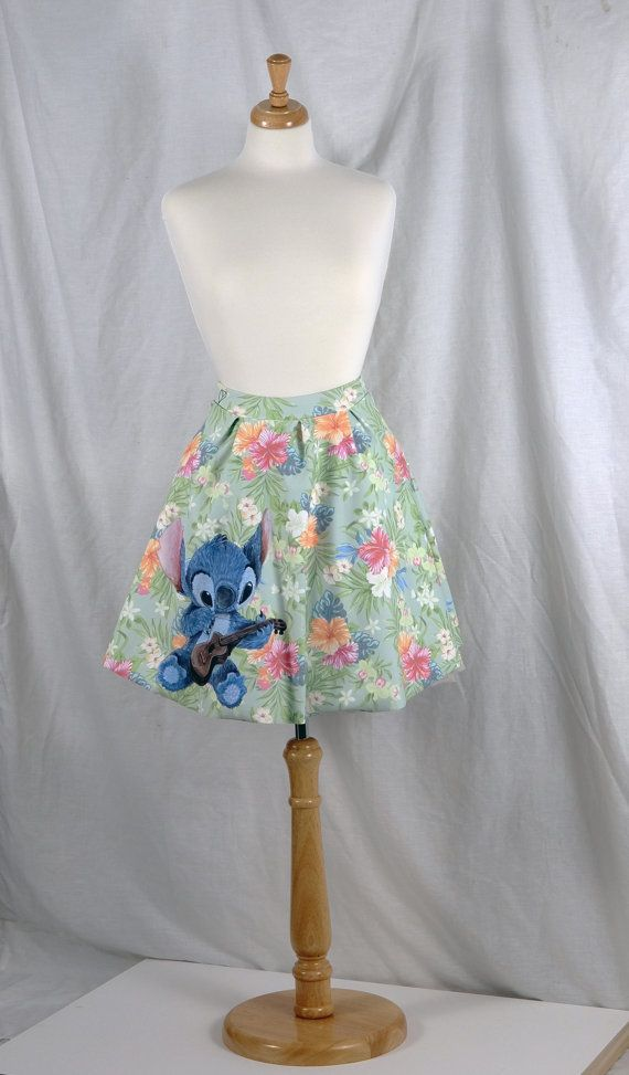 Disney Skirt featuring Stitch from Lilo and Stitch; floral fabric, printed iron on of stitch. Possibly make into an apron?