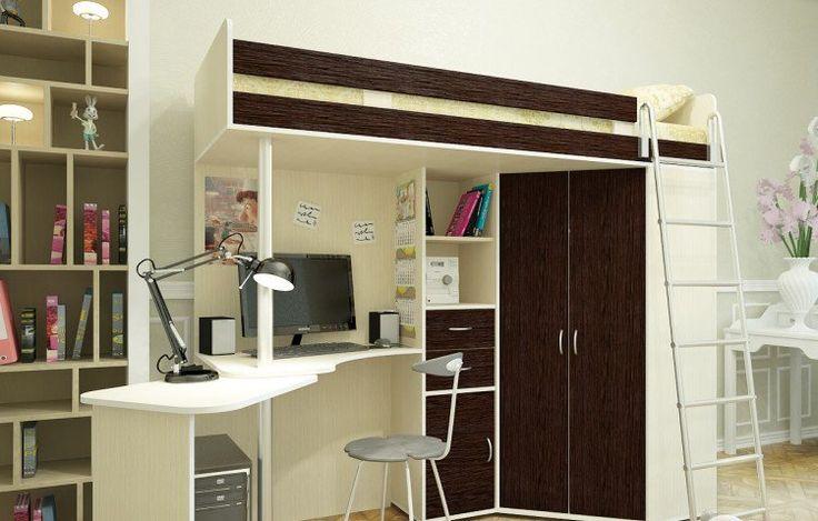 lit-mezzanine-bois-blanc-marron-parquet-massif