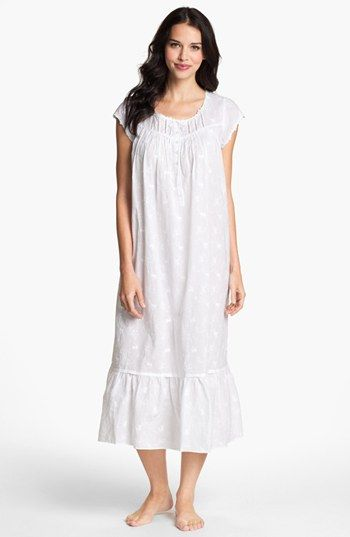 Eileen West 'Breaking Waves' Nightgown in White by Nordstrom. The embroidery on this one is to die for.