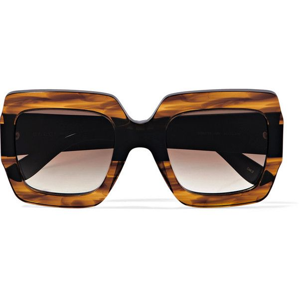 e877cf6ac8c52 Gucci Oversized square-frame tortoiseshell acetate sunglasses ( 335) ❤  liked on Polyvore featuring accessories