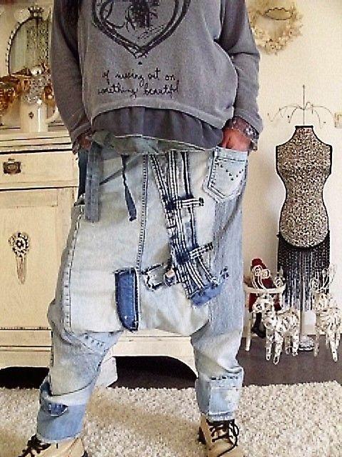 jeans patwork hippie haremshose rockabilly biker lagenlook boheme coll upcycling