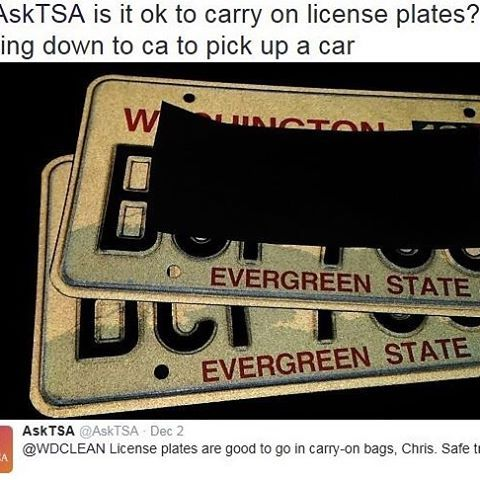 tsa Have you ever wondered whether or not you can pack your license plates? Fret no more! You can pack license plates in carry-on and checked bags. Have another item you're curious about? Now you can simply snap a picture and tweet it to @AskTSA or send it via Facebook Messenger and our team will get back to you promptly with an answer. If you're a regular follower of this account, I'm sure you can think of many situations where it would have behooved somebody to send us a picture first. And…