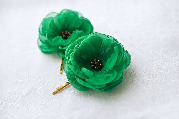 Green Hair Flowers 2 pcs Gift for Bridesmaids by BelleBlooms