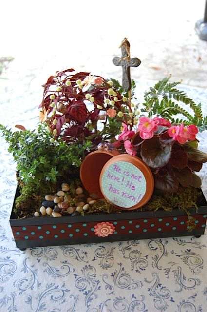 Beyond the Bunny- 12 Christ Centered Easter Tradition Ideas for your Happy Home.  I really like this little empty tomb garden.