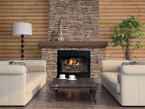 The fireplace stonework adds warmth to this living room for Fireplace material options