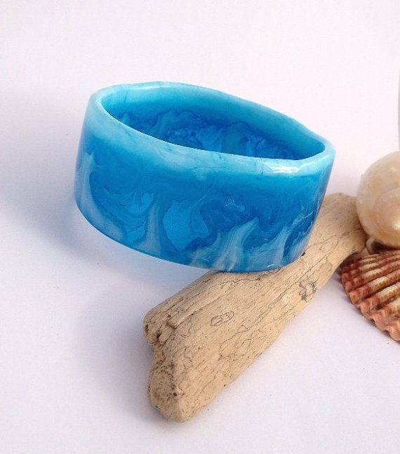Organically-shaped eco-resin wave bangle in blues by PipandtheSea