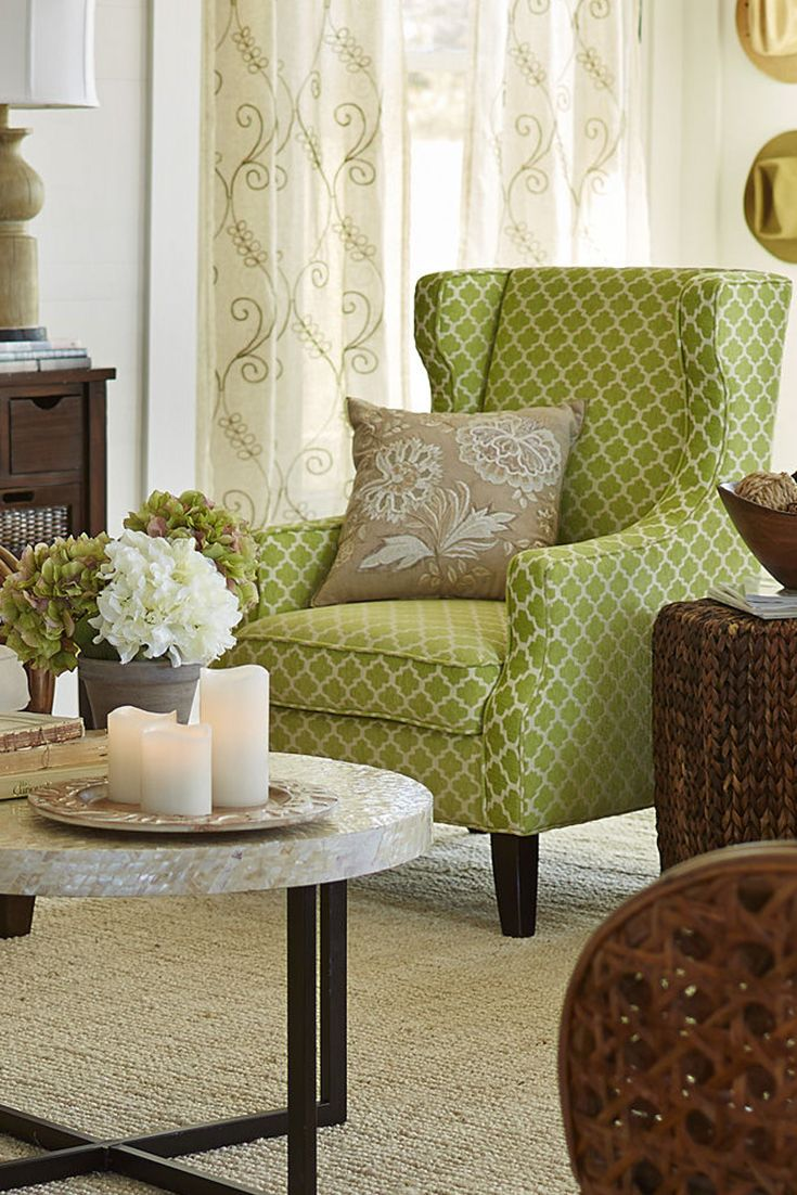Modernized Wing Chair frame with green Moroccan