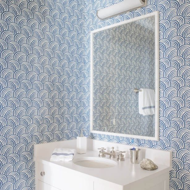 9 Best Powder Room Images On Pinterest Fabric Wall Coverings Fabric Wallpaper And Paint