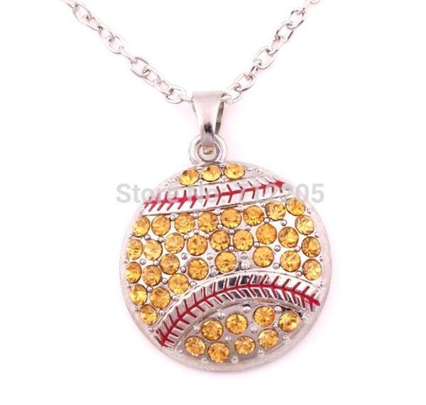 Rhinestone Softball Necklace