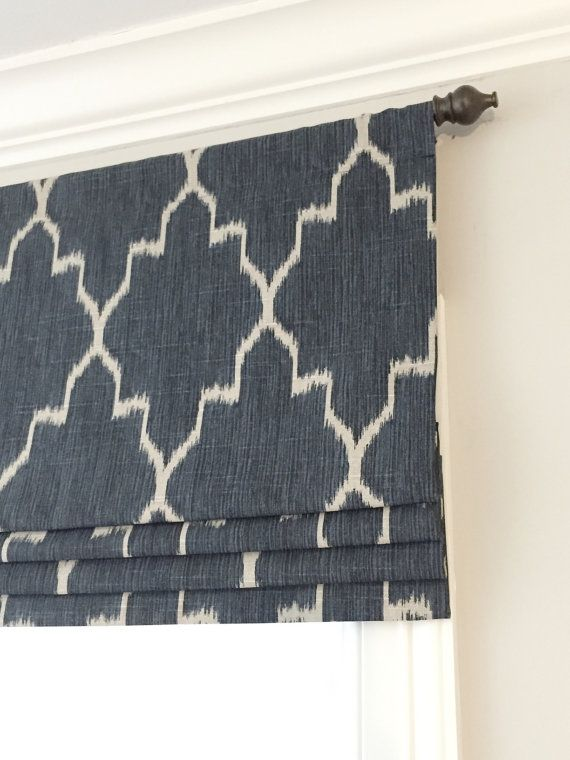 Faux Fake Flat Roman Shade Valance Custom Sizing Navy