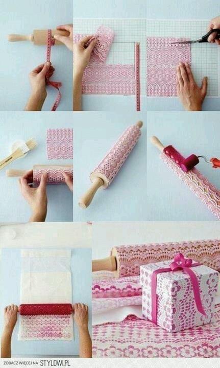 Después de esto, me voy a replantear muy seriamente la opción de comprar papel decorativo o de regalo. A partir de ahora: ENCAJE, PINTURA Y RODILLO!.