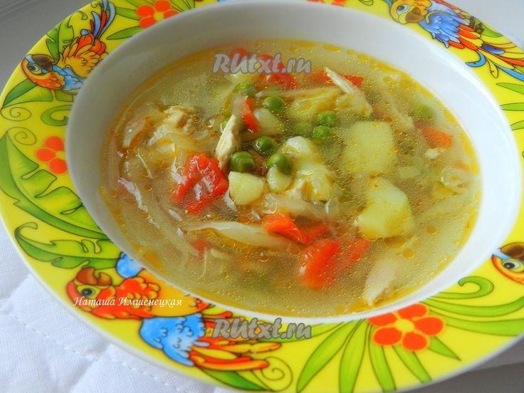 Суп с капустой и зеленым горошком