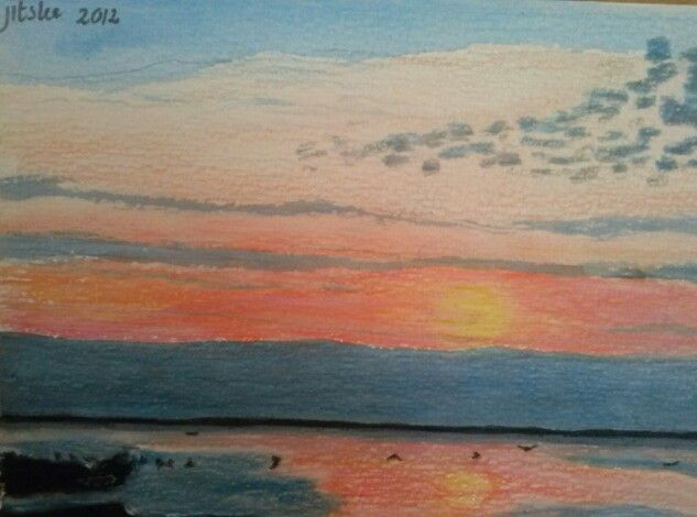 Sunset at the beach- mixed media illustration- by Jitske Jacobs