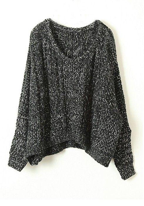 + Black Round Neck Bat Sleeve Wool Blend Sweater
