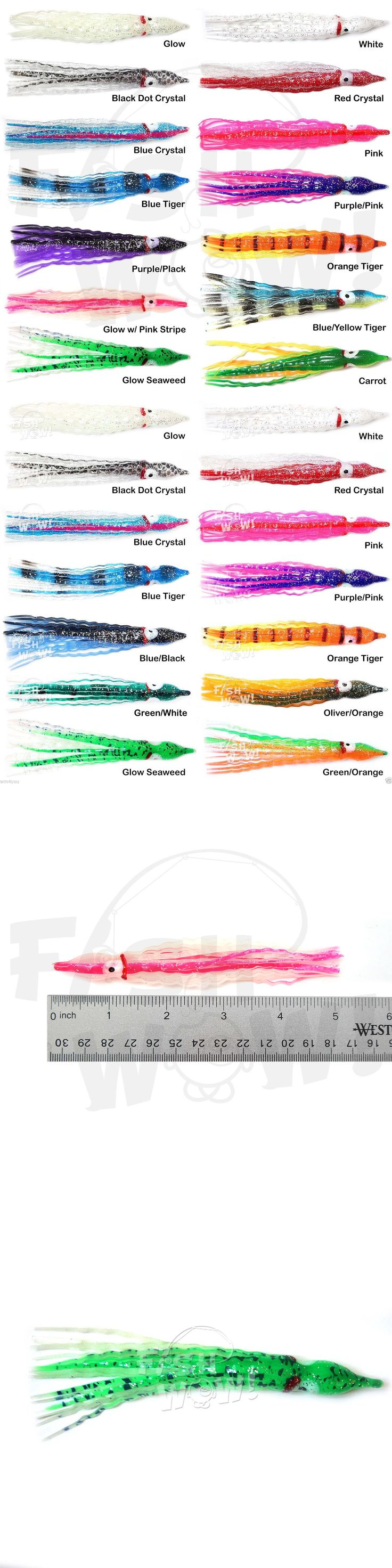 Saltwater Lures 36153: 5~100Pc 5 Fishing Squid Skirt Hoochies Octopus Trolling Soft Lure Crinkle Shape BUY IT NOW ONLY: $31.88