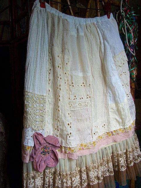 Vintage Ruffles White on White Patchwork Skirt