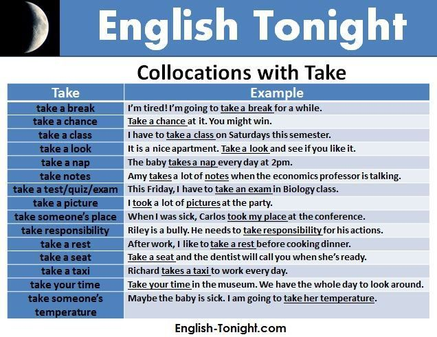 English expressions with take