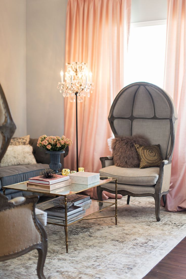 Feminine Living Room In Blush And Grey SPACES LIVING