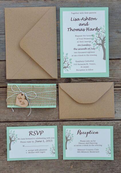 Rustikale Hochzeit Einladung Suite Mint von MelindaWeddingDesign