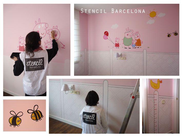 Habitaciones infantiles con mural en la pared pintado a ...