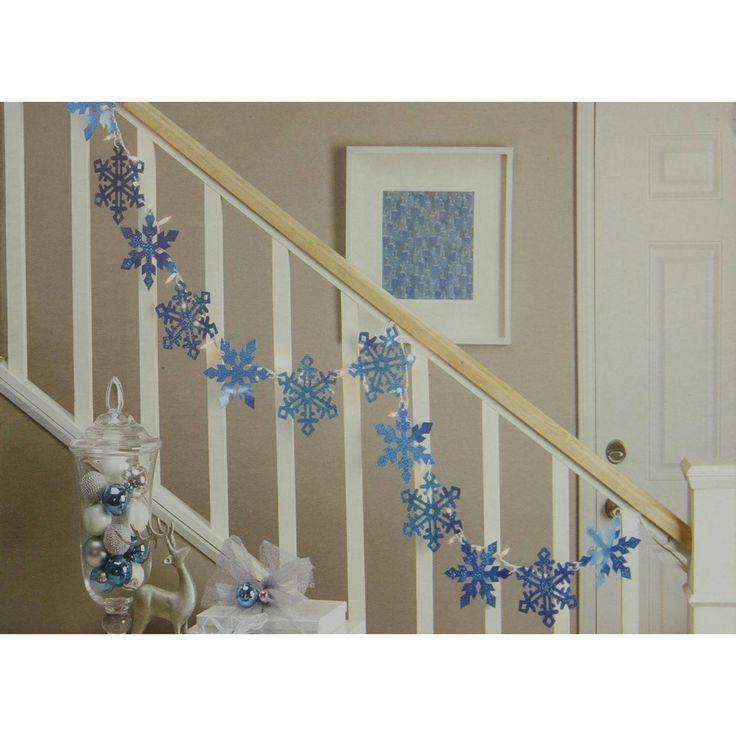 Impact 9.9' Blue Holographic Snowflake Christmas Light Garland with 35 Mini Lights - White Wire