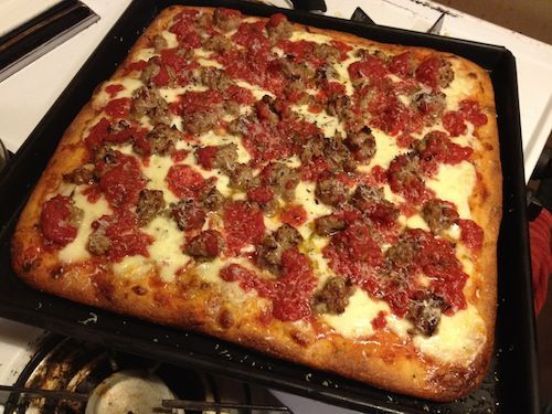 Homemade Sicilian Pizza. The crust looks delicious!