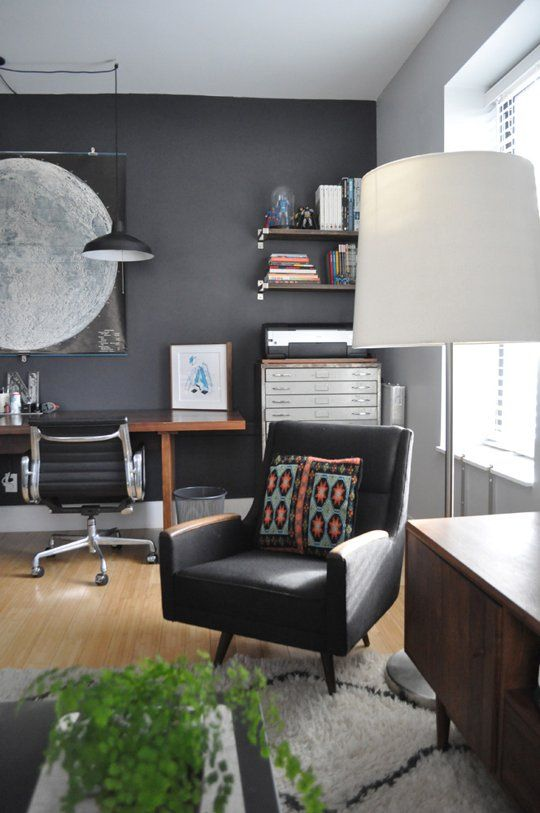 Bryan & Sarah's Vintage Modern Home & Studio House Tour | Apartment Therapy - This whole apartment is pretty awesome. Love the dark greys.