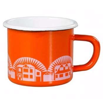 Wild and Wolf Enamelware Mug Tangerine Dream : This enamelware range is inspired by their personal collection of mid-century Scandinavian cookware. It follows in the tradition of combining great colour and pattern with quality and practicality.