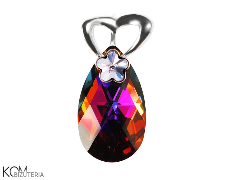 Pear and a flower - light violet and vulcano - Swarovski and silver pendant. Lovely silver pendant with an eye-catching Swarovski Pear crystal sparkling with red, navy blue and violet and accentuated with a delicate Swarovski light violet rivoli crystal.