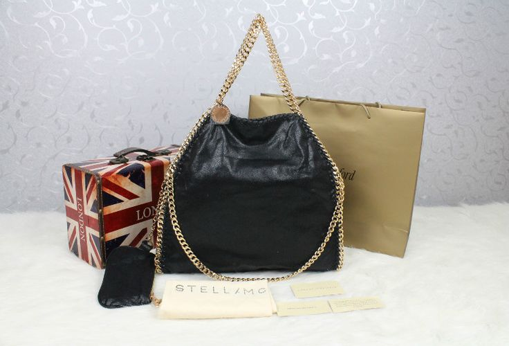 stella mccartney foldover chain tote bag black with gold