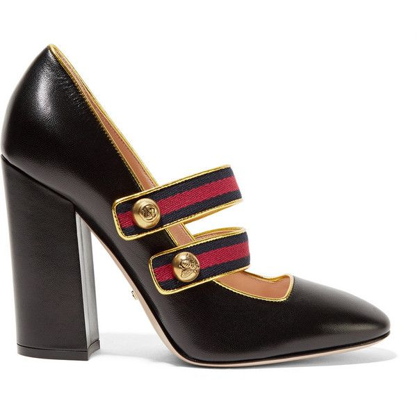 Gucci Embellished canvas-trimmed leather pumps (17 145 UAH) ❤ liked on Polyvore featuring shoes, pumps, gucci pumps, black shoes, leather shoes, slip on shoes and black high heel shoes