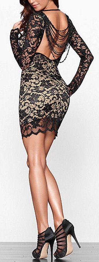 Backless Beading Lace Dress ♥ #lbd