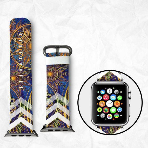 Handmade Apple Watch Strap Apple Watch Band 38mm Apple Watch Strap Apple Watch Band 42mm - Flower Pattern (BBSW020)