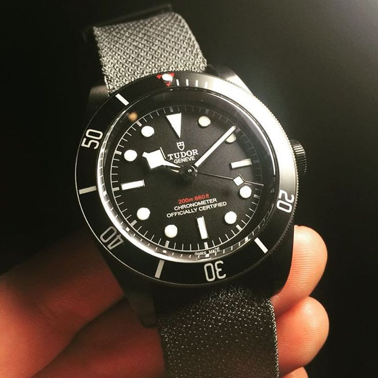 """""""Surprise! Tudor Black Bay Black is out! 41mm black PVD coated case... Available on PVD coated bracelet or dark grey fabric strap... Red triangle and depth…"""""""