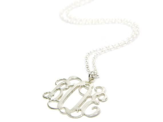 """Sterling silver monogram necklace. 1"""" Silver initial necklace. Monogram initial necklace. Silver necklace. Monogram jewelry. Initial jewelry"""