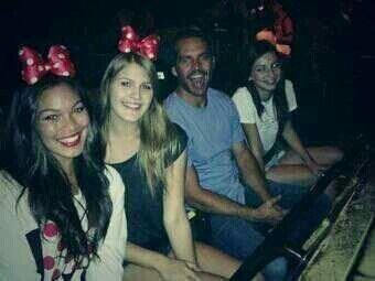 Paul walker with daughter meadow and her friends on a trip to disney land for her birthday