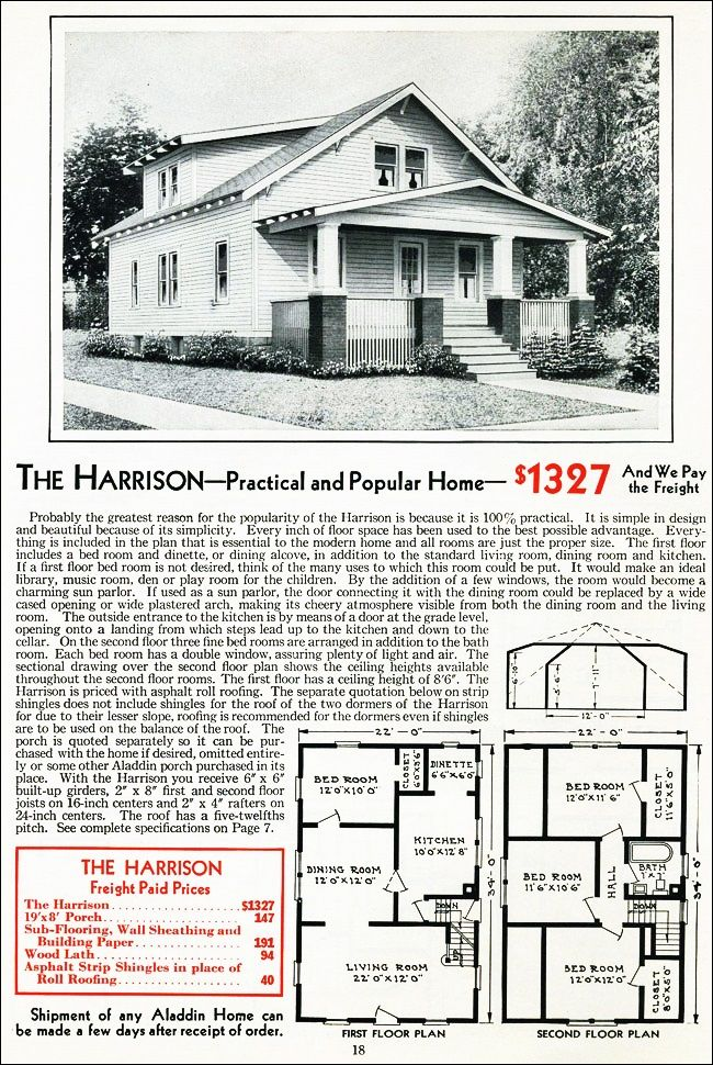 the harrison kit house floor plan made by the aladdin company in bay city michigan in