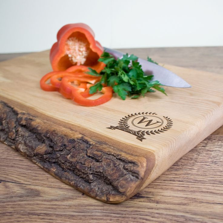 Personalised Rustic Welsh Ash Chopping Board with Olympic Monogram - yourgifthouse